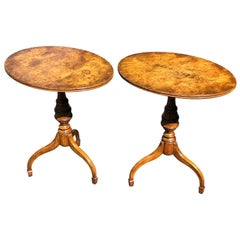 Pair of Mid-Century Modern Burl Wood Lamp or Side Tables by Weiman