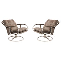 Pair of Mid-Century Modern Button Back Chrome Arm Chairs in Holly Hunt Velvet
