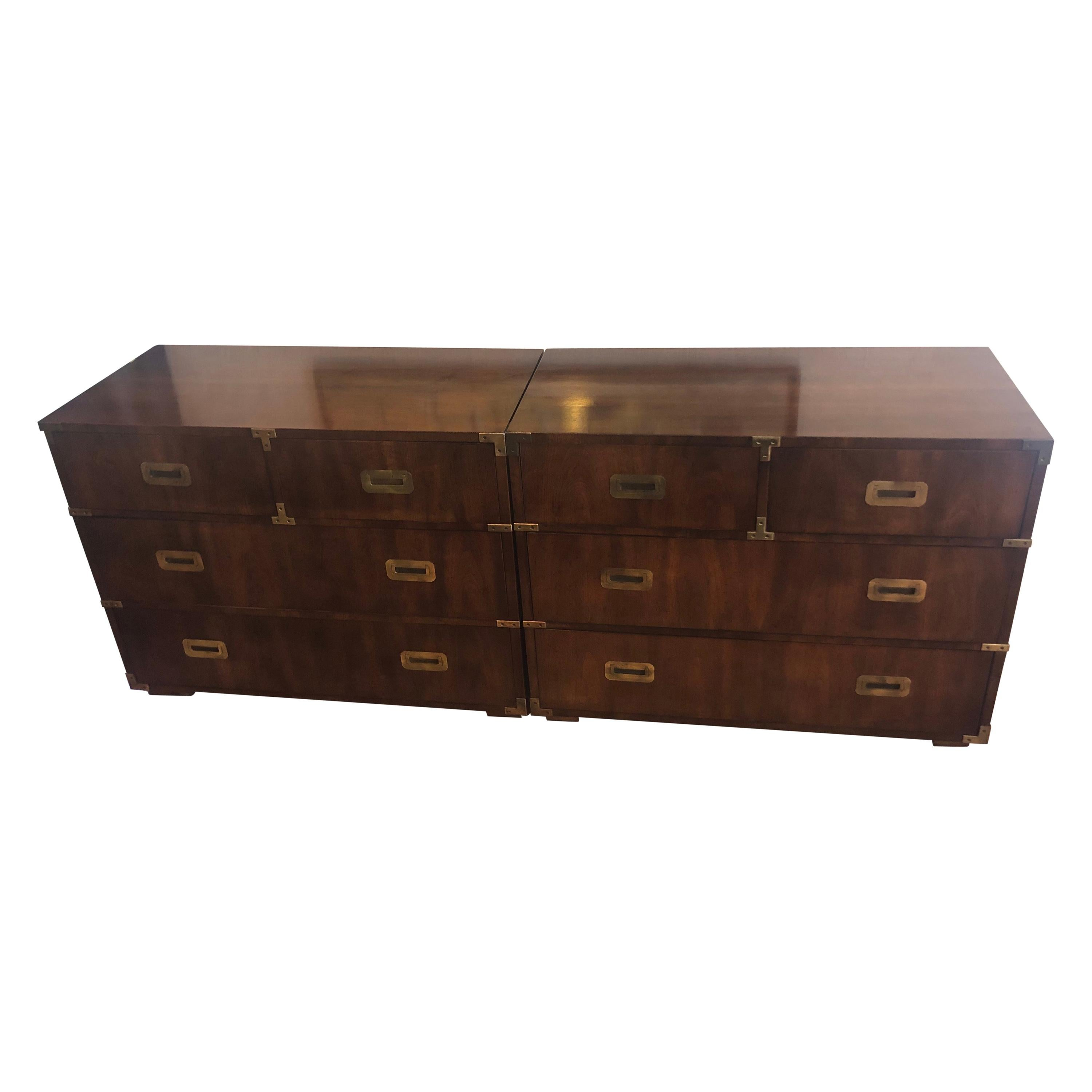 Pair of Mid Century Modern Campaign Dressers by Henredon