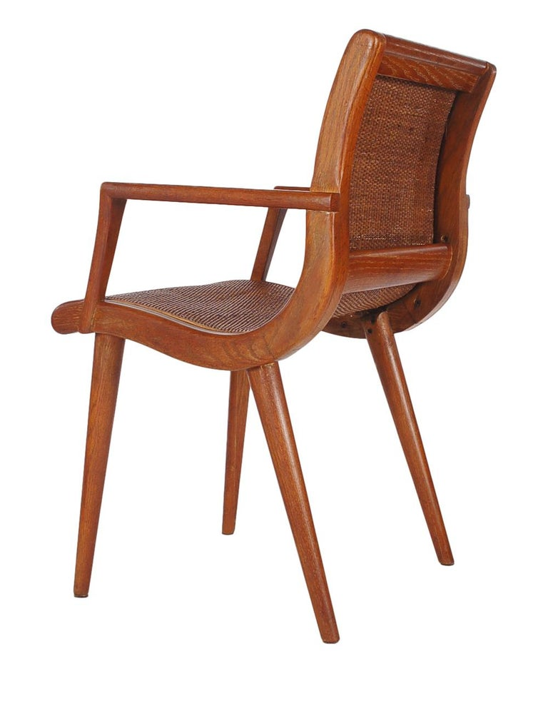 American Pair of Mid-Century Modern Cane and Oak Danish Modern Style Armchairs For Sale