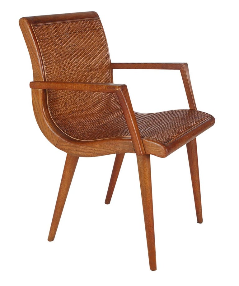 Pair of Mid-Century Modern Cane and Oak Danish Modern Style Armchairs For Sale 1