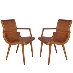 Pair of Mid-Century Modern Cane and Oak Danish Modern Style Armchairs