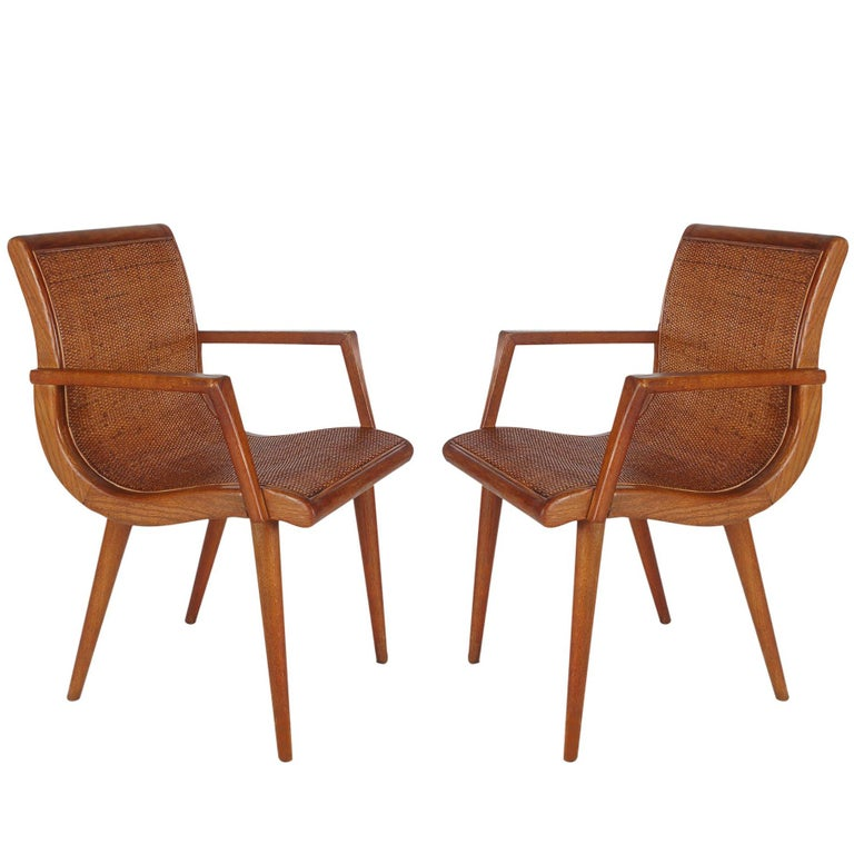 Pair of Mid-Century Modern Cane and Oak Danish Modern Style Armchairs For Sale