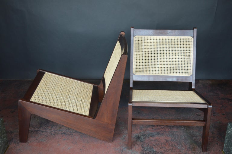 Pair of Cane Chairs in the Style of Pierre Jeanneret In Good Condition For Sale In Los Angeles, CA