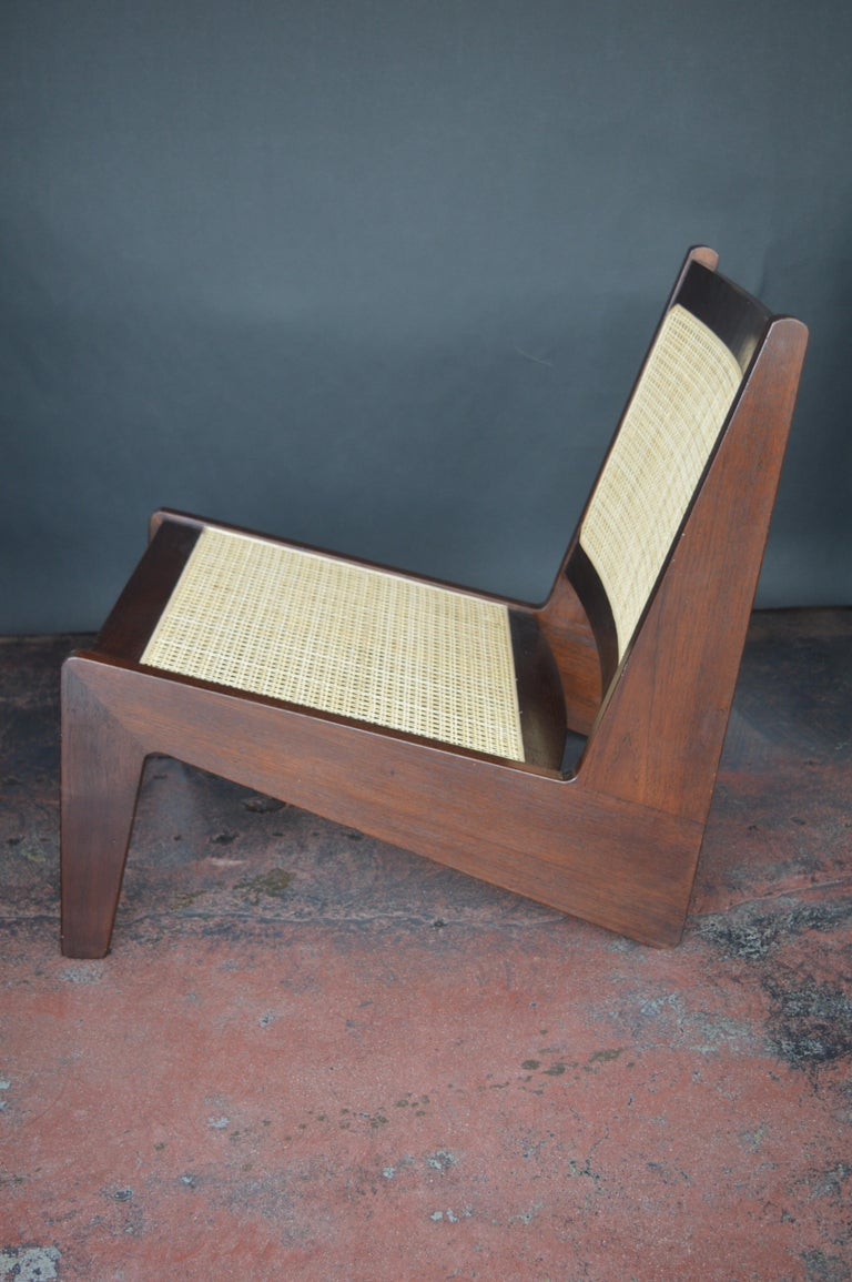 20th Century Pair of Cane Chairs in the Style of Pierre Jeanneret For Sale