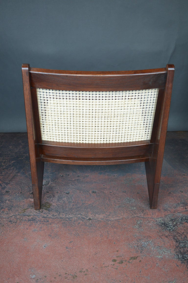 Pair of Cane Chairs in the Style of Pierre Jeanneret For Sale 1