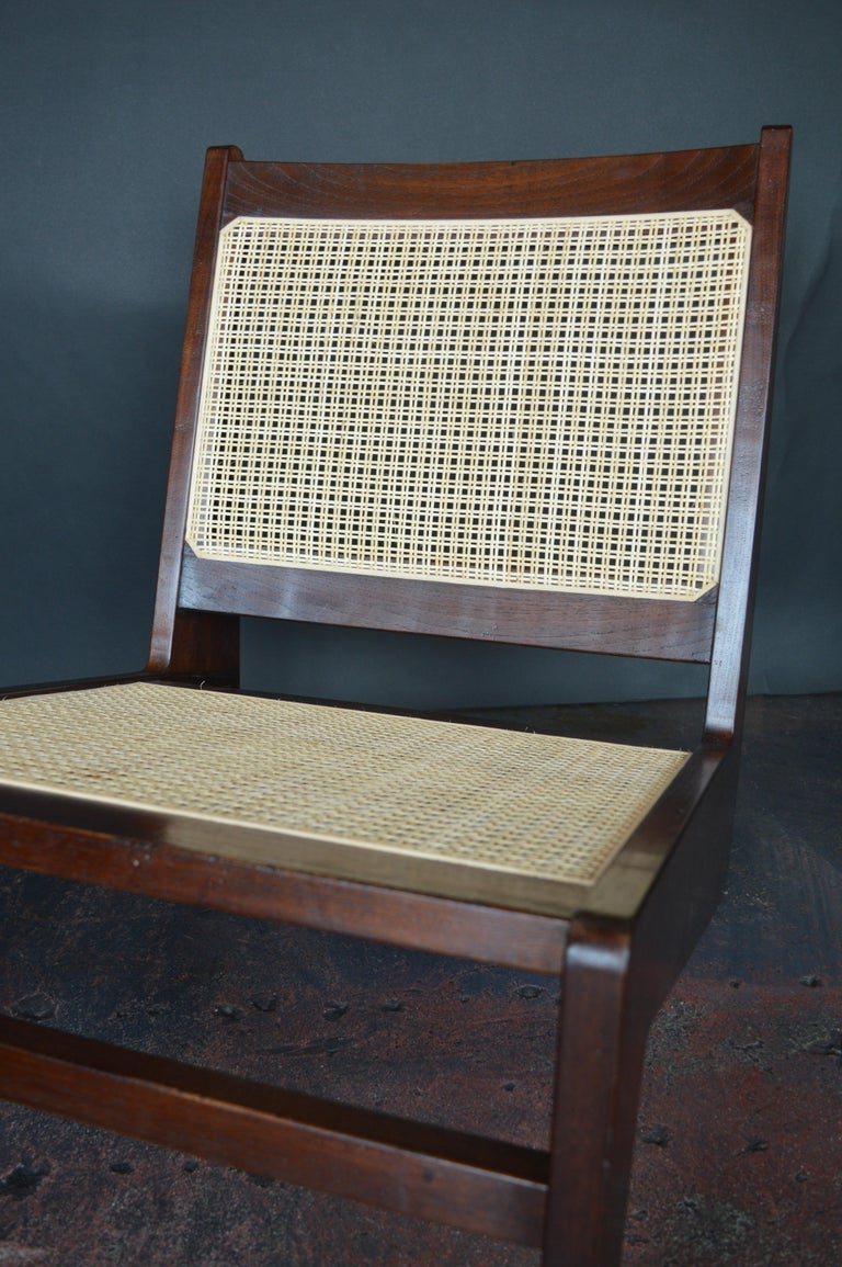 Pair of Cane Chairs in the Style of Pierre Jeanneret For Sale 2