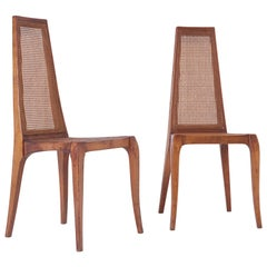 Pair of Mid-Century Modern Caned Chairs in Walnut, circa 1960