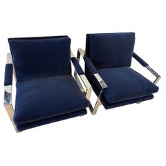 Pair of Mid-Century Modern Cantilever Chairs with Newer Navy Blue Velvet Fabric