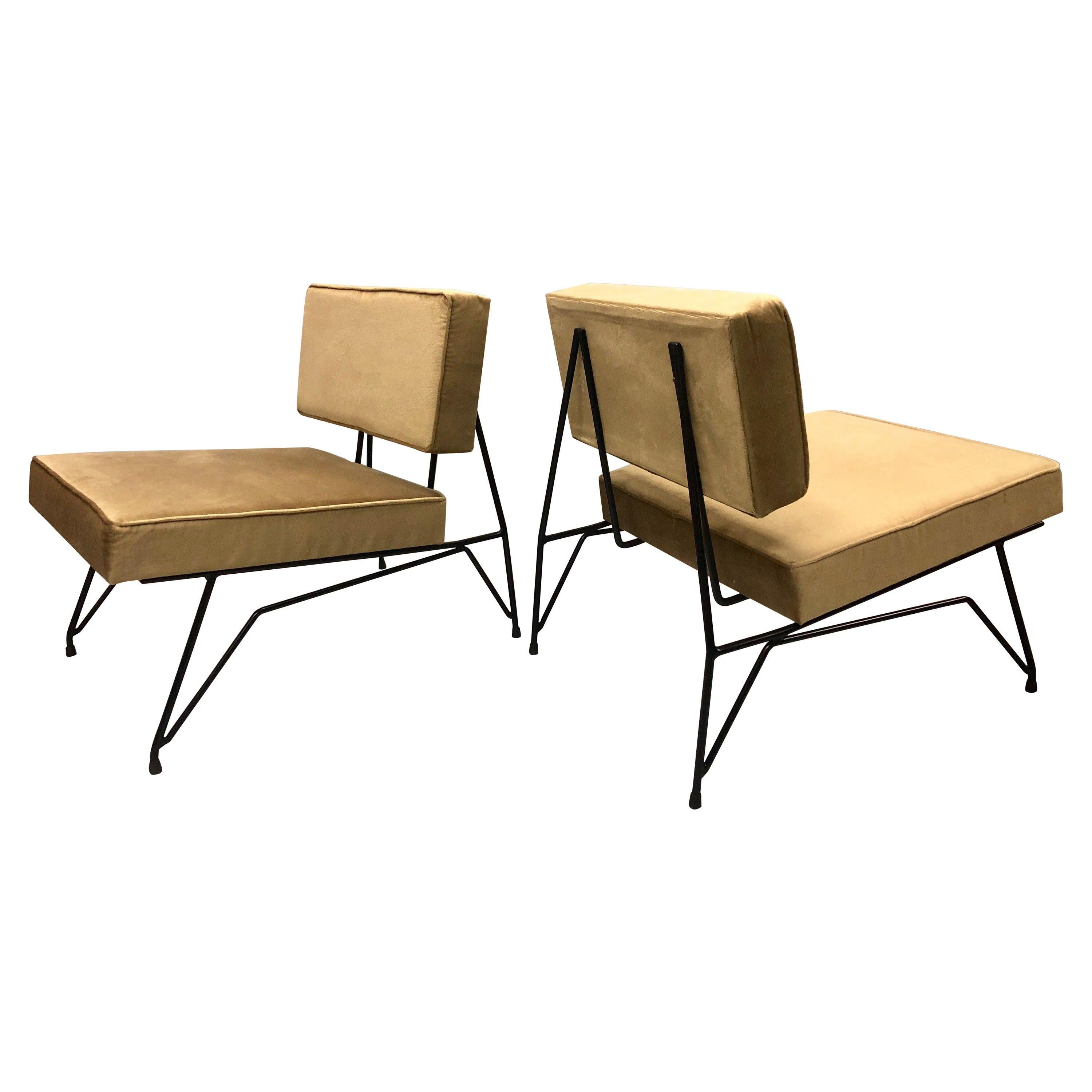 Pair of Mid-Century Modern, Cantilevered Lounge Chairs, Augusto Bozzi Attributed