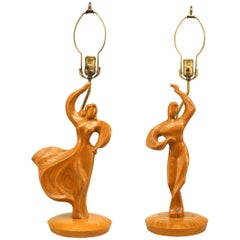 Pair of Mid-Century Modern Carved Fruitwood Lamps