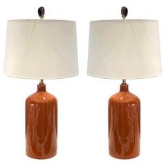 Pair of Mid-Century Modern Ceramic Lamps in Burnt Orange, circa 1970s