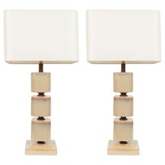Pair of Mid-Century Modern Ceramic Pearlescent Cube Table Lamps
