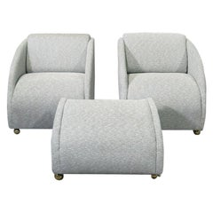 Pair of Mid-Century Modern Chairs and Ottoman