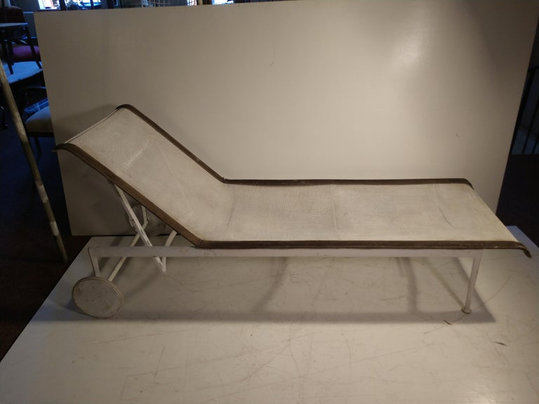 Pair of Richard Schultz for Knoll outdoor chaise lounges. Frames are solid, no damage. Fabric is original and on need of an update. Tears and major wear to leather that frames the mesh fabric. Mesh fabric has a frame of its own which unscrews.