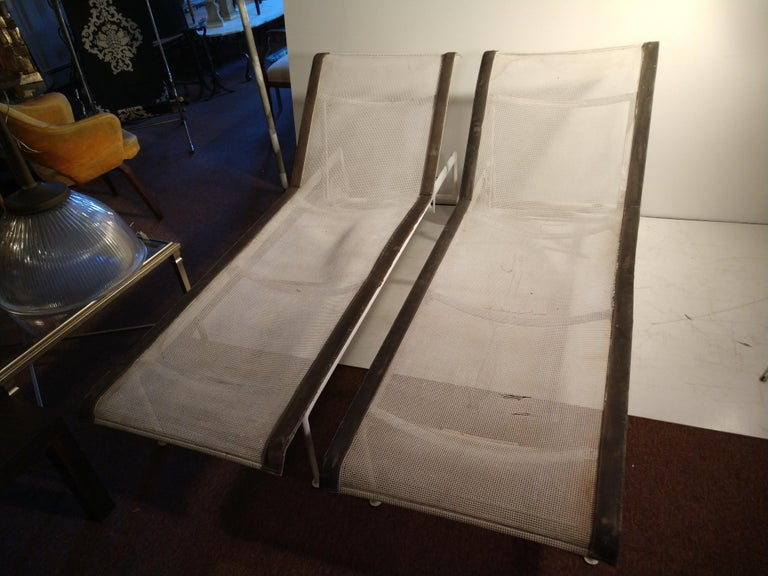 American Pair of Mid-Century Modern Chaises by Richard Schultz For Sale