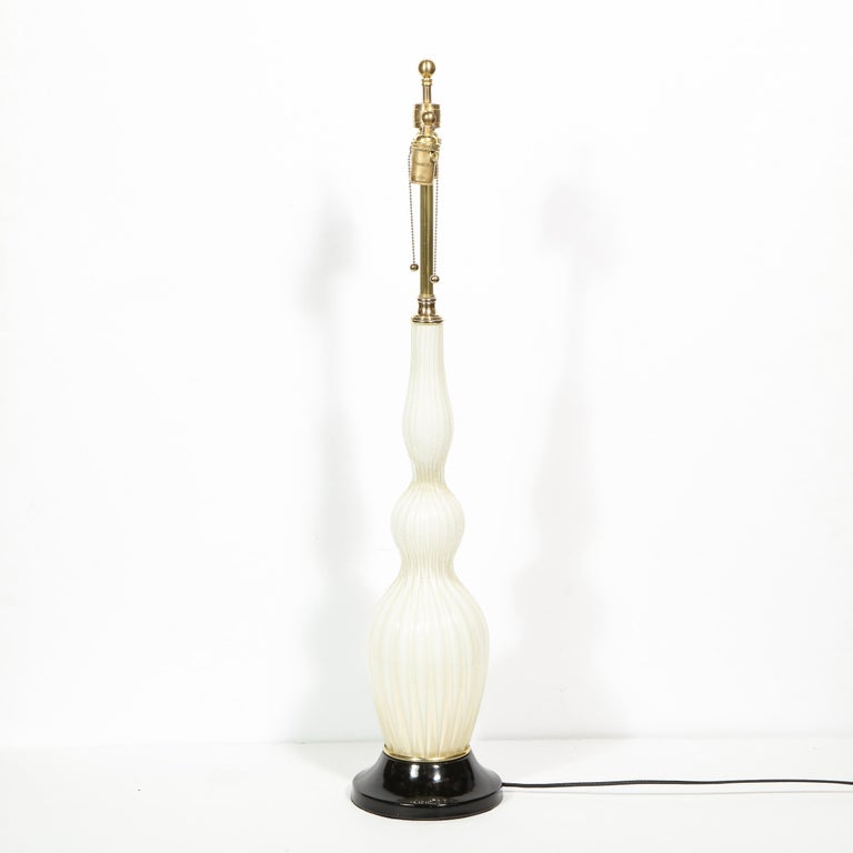 Pair of Mid-Century Modern Channeled White Murano Glass Malmaison Table Lamps For Sale 4