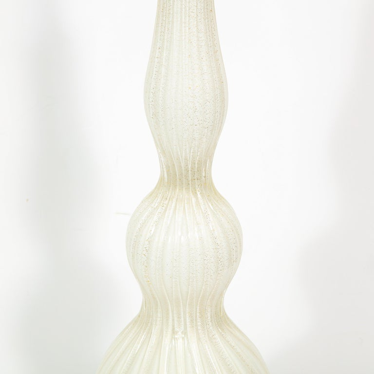 Pair of Mid-Century Modern Channeled White Murano Glass Malmaison Table Lamps For Sale 6