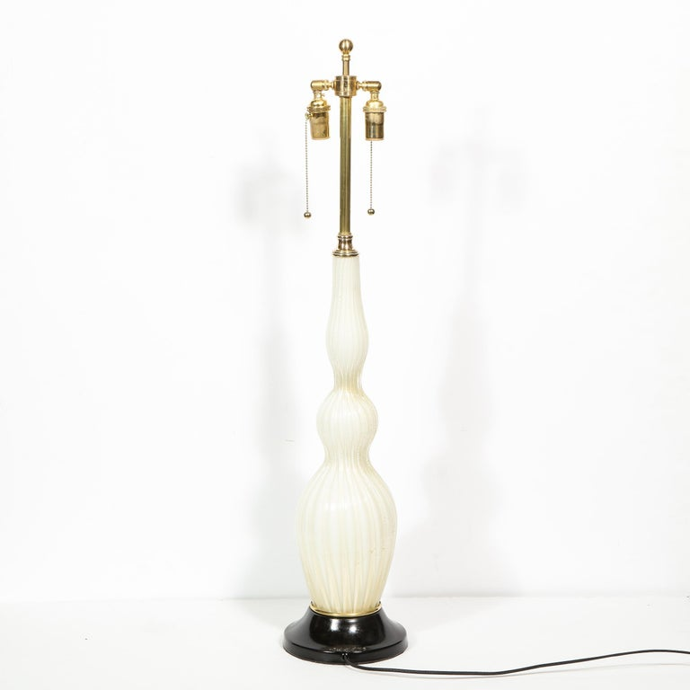 Pair of Mid-Century Modern Channeled White Murano Glass Malmaison Table Lamps For Sale 7