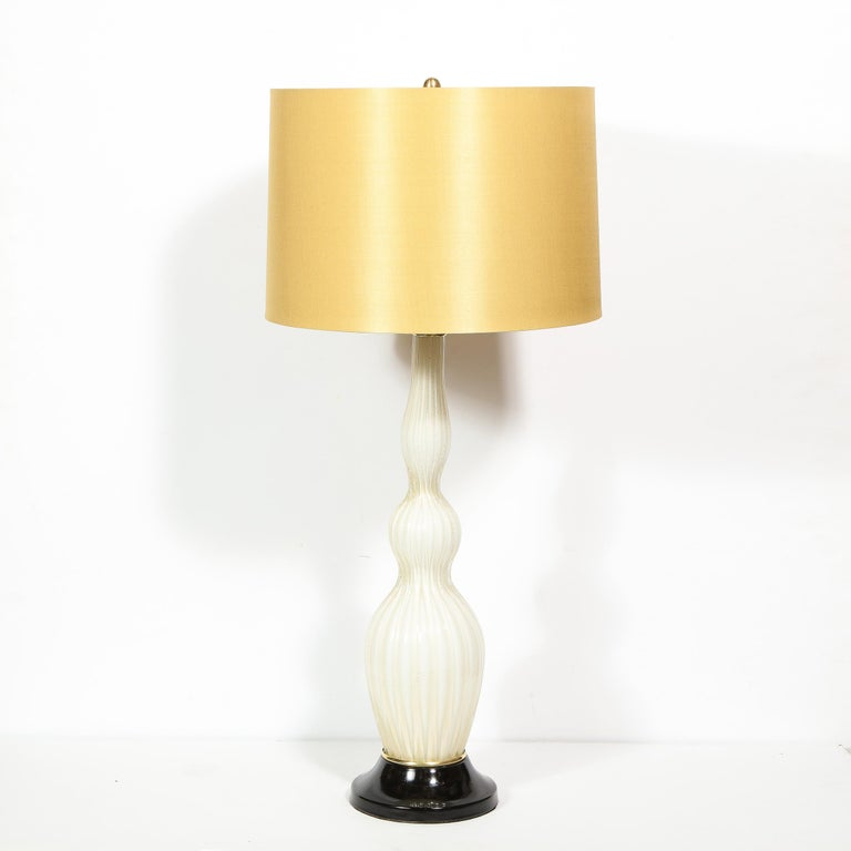 Brass Pair of Mid-Century Modern Channeled White Murano Glass Malmaison Table Lamps For Sale