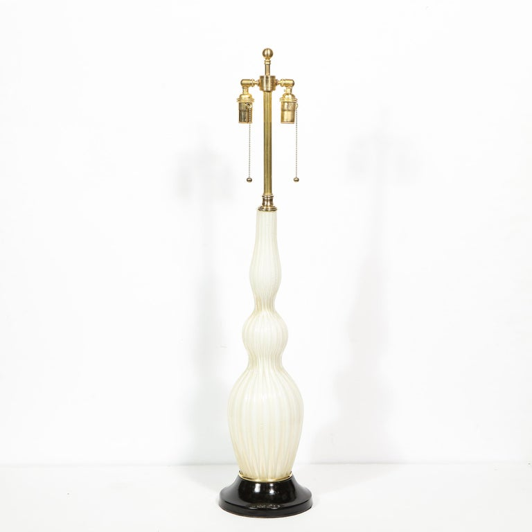 Pair of Mid-Century Modern Channeled White Murano Glass Malmaison Table Lamps For Sale 1
