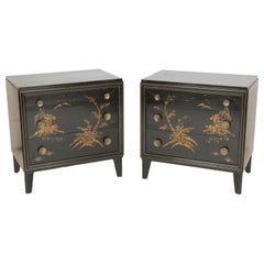 Pair of Mid-Century Modern Chinoiserie Decorated Chests of Drawers