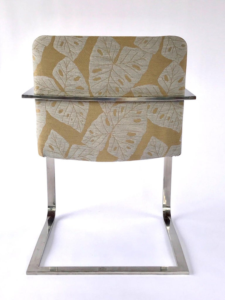 Pair of Mid-Century Modern Chrome Desk Chairs with Tropical Print by Brueton For Sale 3