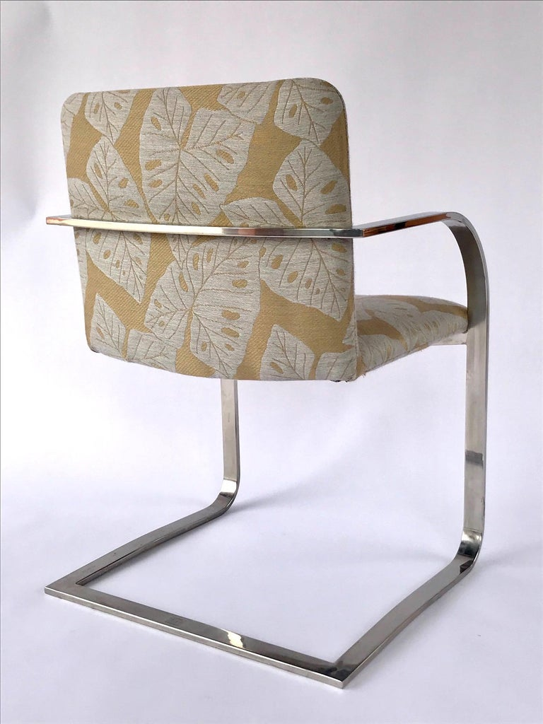 Pair of Mid-Century Modern Chrome Desk Chairs with Tropical Print by Brueton For Sale 4