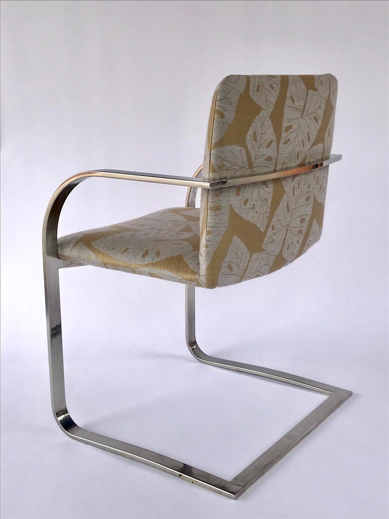 Pair of Mid-Century Modern Chrome Desk Chairs with Tropical Print by Brueton For Sale 6
