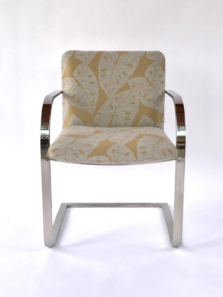 American Pair of Mid-Century Modern Chrome Desk Chairs with Tropical Print by Brueton For Sale