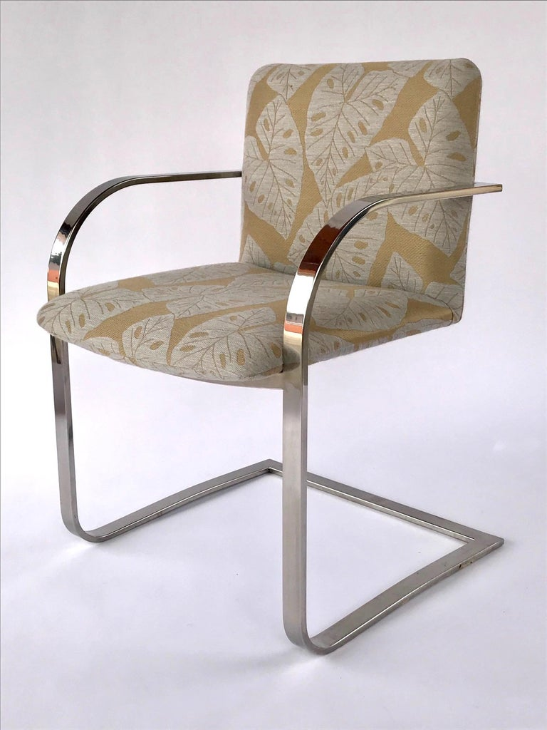 Polished Pair of Mid-Century Modern Chrome Desk Chairs with Tropical Print by Brueton For Sale