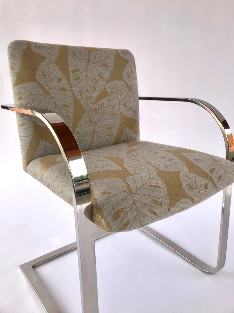 Pair of Mid-Century Modern Chrome Desk Chairs with Tropical Print by Brueton In Good Condition For Sale In Miami, FL