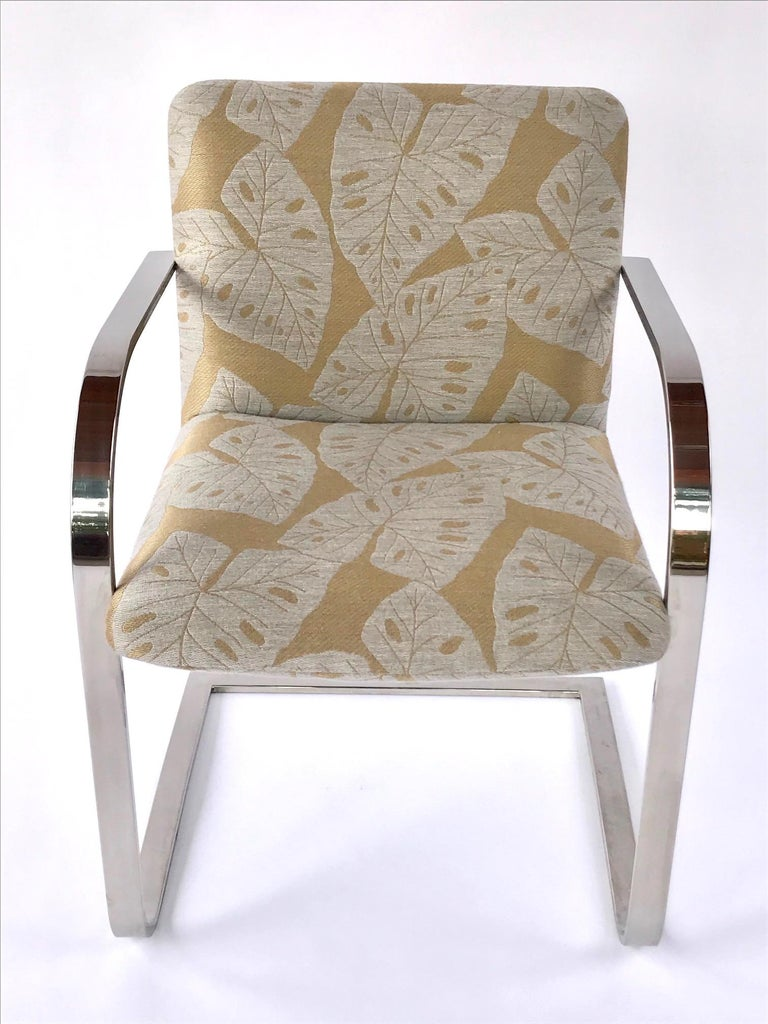 Late 20th Century Pair of Mid-Century Modern Chrome Desk Chairs with Tropical Print by Brueton For Sale