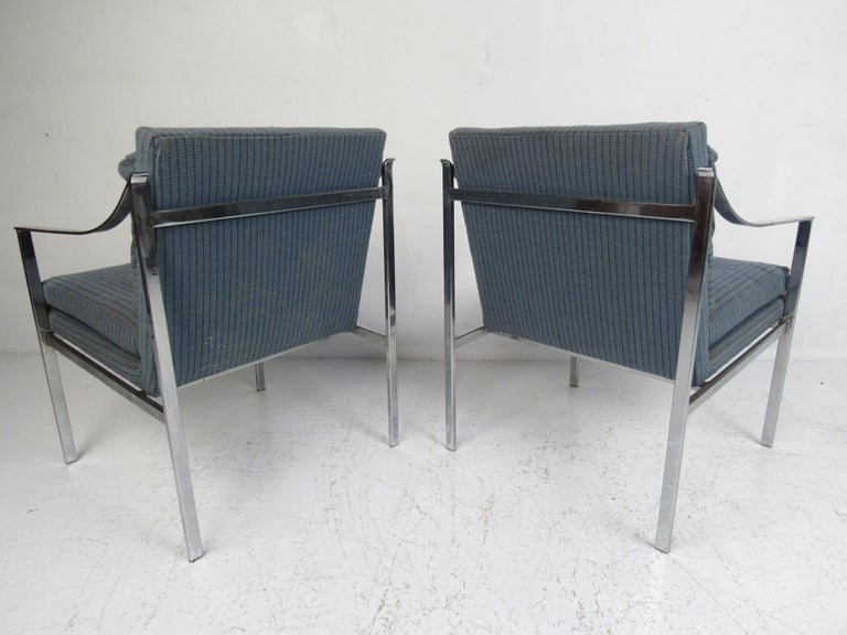 Upholstery Pair of Mid-Century Modern Chrome Lounge Chairs For Sale