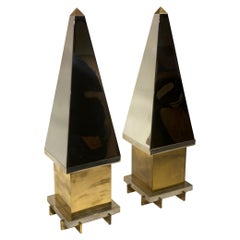 Pair of Mid-Century Modern Chrome-Plated Bronze Obelisks