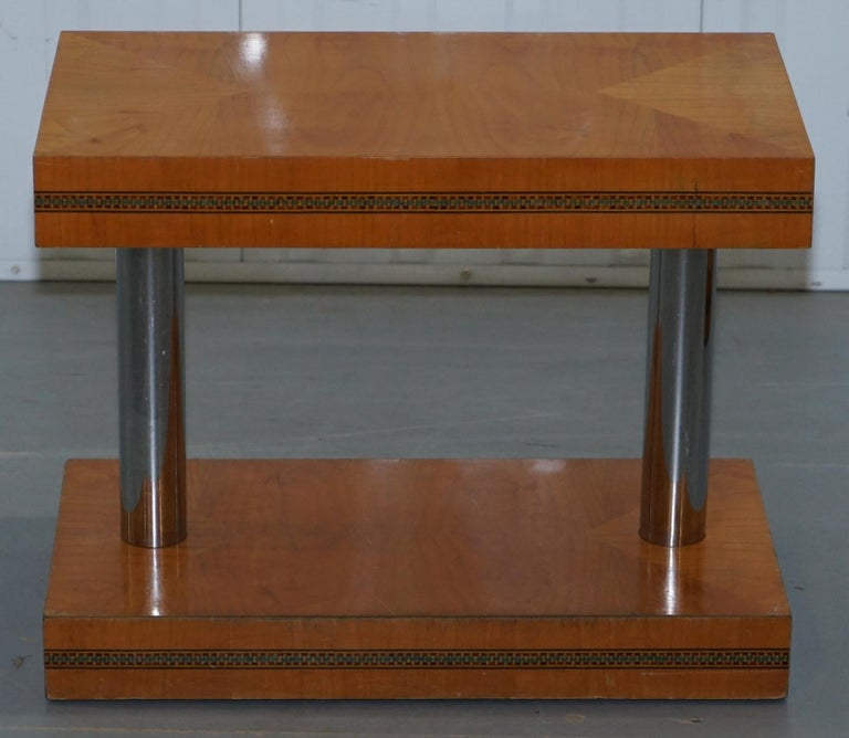 English Pair of Mid-Century Modern Chrome-Plated & Satinwood Side End Wine Lamp Tables For Sale