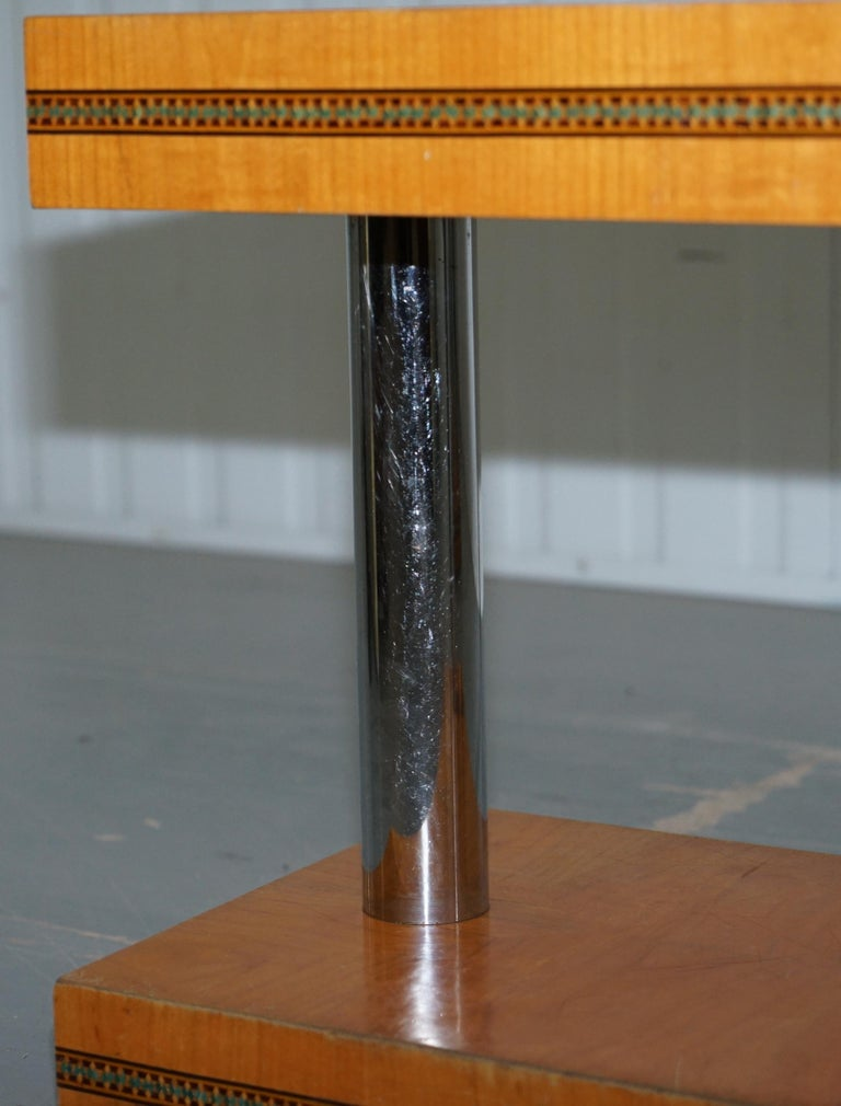 Pair of Mid-Century Modern Chrome-Plated & Satinwood Side End Wine Lamp Tables For Sale 1