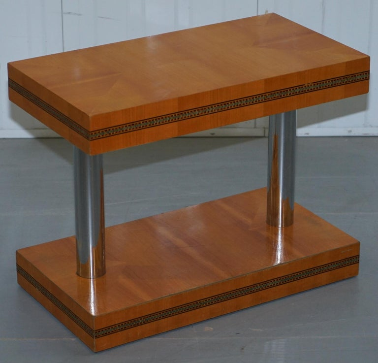 Pair of Mid-Century Modern Chrome-Plated & Satinwood Side End Wine Lamp Tables For Sale 3