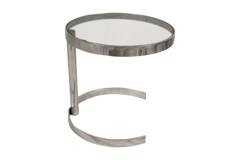 20th Century Pair of Mid-Century Modern Chrome Side Tables with Smoked Glass For Sale