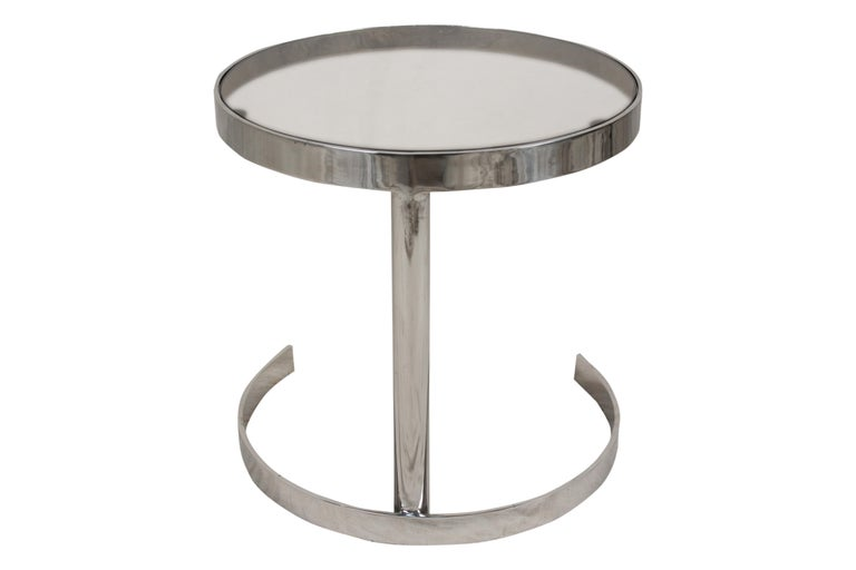 Pair of Mid-Century Modern Chrome Side Tables with Smoked Glass For Sale 1