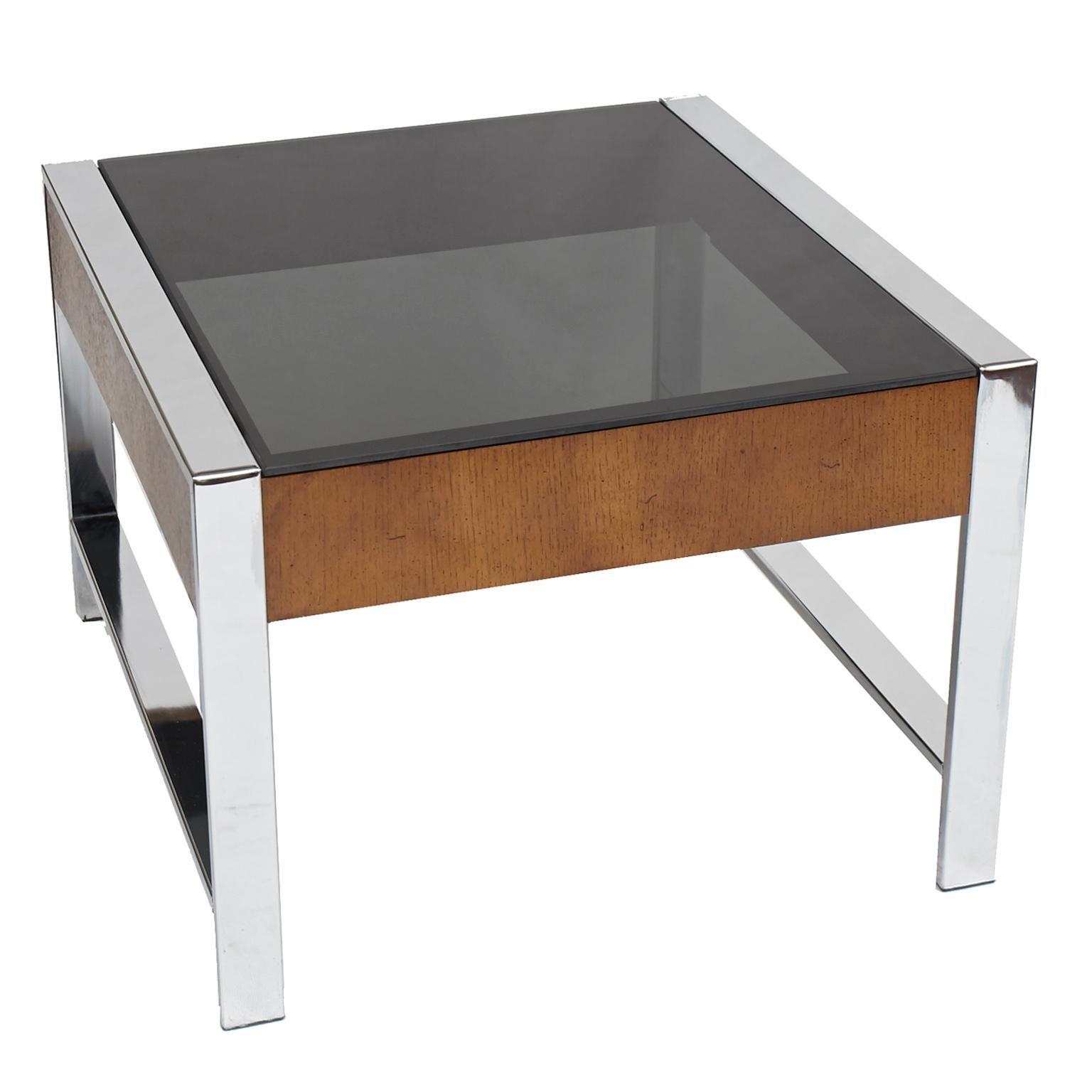 Pair Of Mid Century Modern Chrome, Walnut Veneer And Smoke Glass End Tables