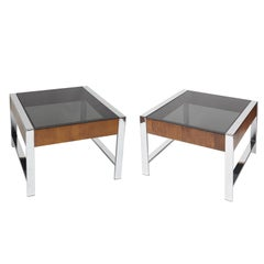 Pair of Mid-Century Modern Chrome, Walnut Veneer and Smoke Glass End Tables