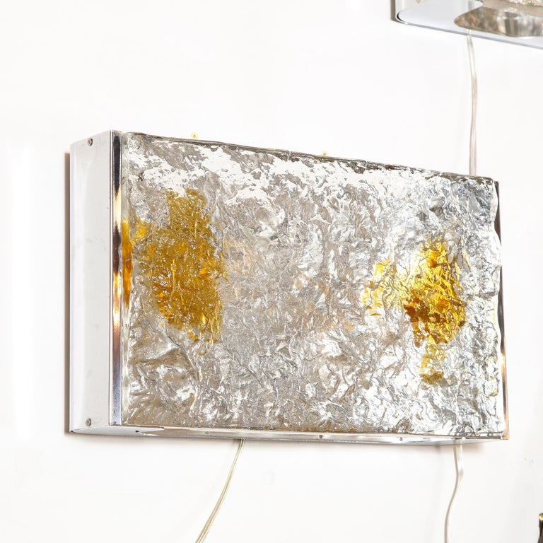 Pair of Mid-Century Modern Clear and Amber Murano Glass Sconces by Mazzega For Sale 10