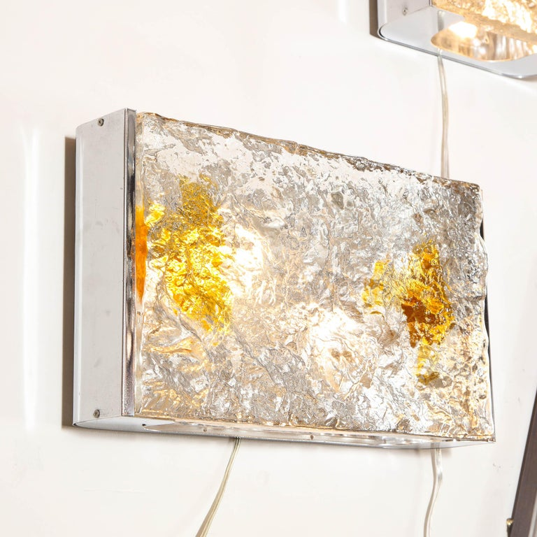 Pair of Mid-Century Modern Clear and Amber Murano Glass Sconces by Mazzega For Sale 2