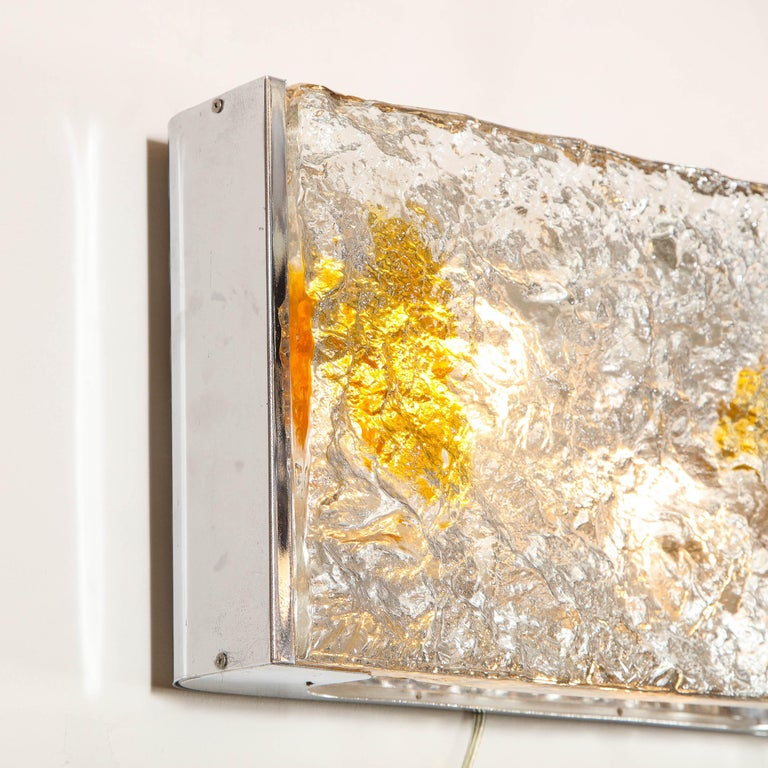 Pair of Mid-Century Modern Clear and Amber Murano Glass Sconces by Mazzega For Sale 3