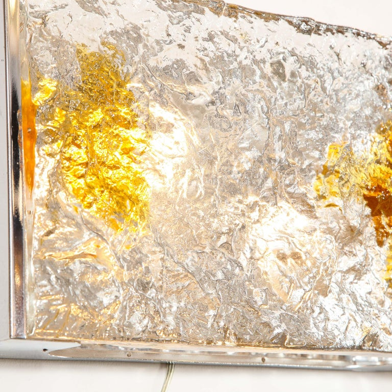 Pair of Mid-Century Modern Clear and Amber Murano Glass Sconces by Mazzega For Sale 4