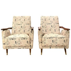 Pair of Mid-Century Modern Club Chairs, Walnut with Faux Leather, Italian