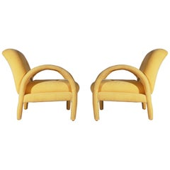 Pair of Mid-Century Modern Club or Lounge Chairs after Milo Baughman in Velvet