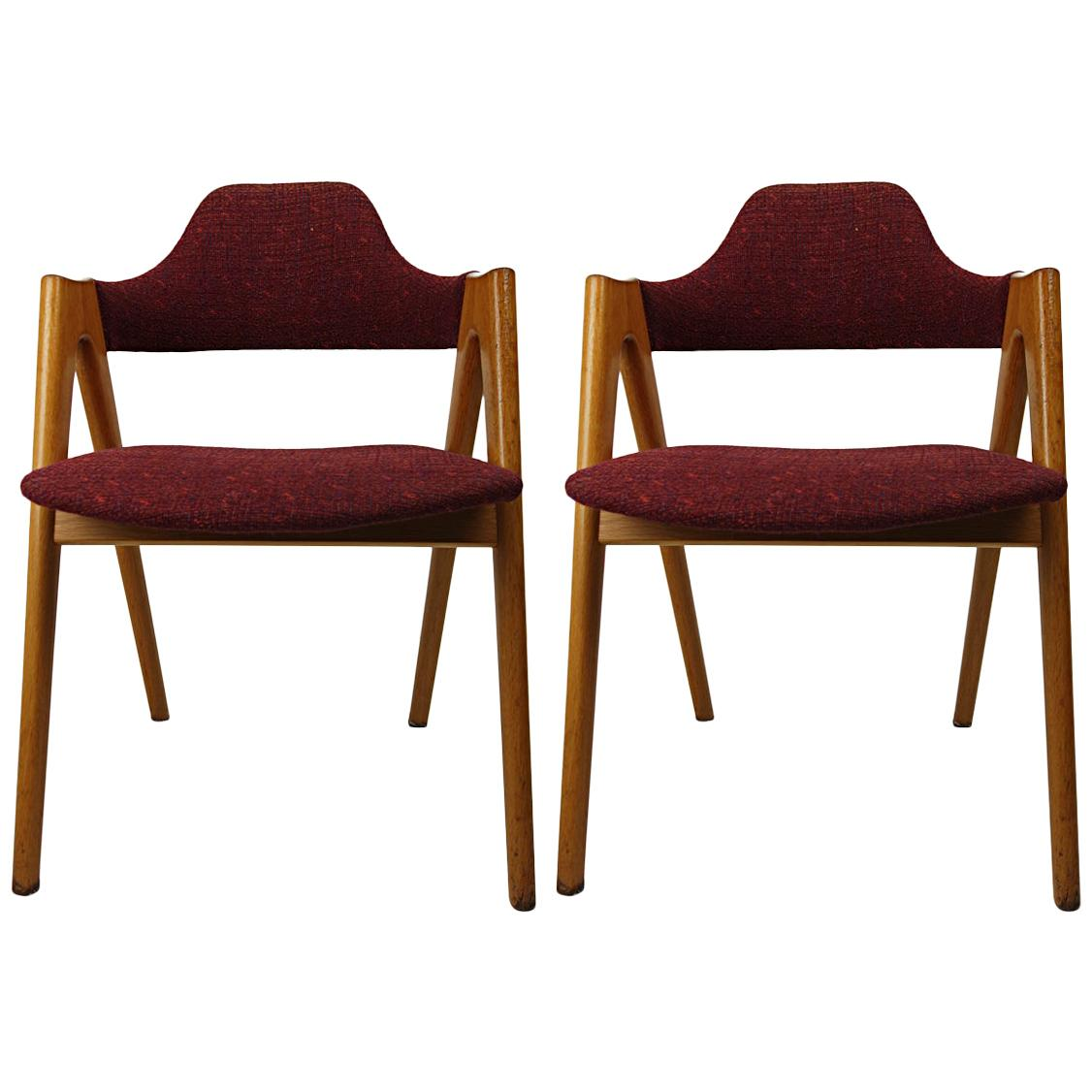 Pair of Mid-Century Modern Compass Chairs by Kai Kristiansen for SVA Møbler
