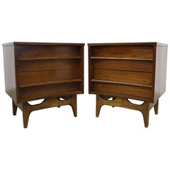 Pair of Mid-Century Modern Concave Front Walnut Nightstands